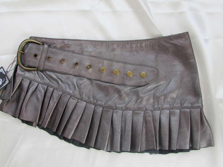 on sale silver leather steunk mini skirt mini skirt