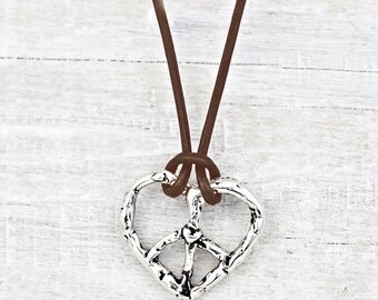 Love & Peace Necklace - Heart Necklace - Inspirational Jewelry-  Peace Sign Jewelry - N455