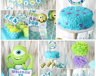 "Diy ""Scare Monster"" Inc Inspired Kids Birthday Digital Printable Party Package"
