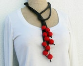 Red lariat necklace Statement felt accessory  Felted beads Balls