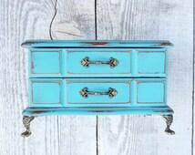 Turquoise Jewelry Box - SHABBY CHIC Upcycled Dark Aqua Blue Wood Jewelry Box with Metal Claw Feet.