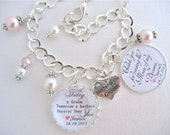 MOTHER of the GROOM Charm BRACELET Gift Today a Groom Wedding Bracelet Man of my Dreams  Mother in Law Gift  Wedding Jewelry Beautiful Quote