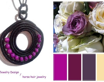 From Europe's heart black HORSE HAIR and purple natural stone