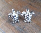 Silver Turtle Earrings - Sea Turtle Stud Earrings - Silver Stud Earrings, Sea Turtle Post Earrings