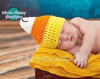 Candy Corn Hat - Crochet Baby Newborn NB Girl Boy Costume Halloween Preemie Christmas Thanksgiving Photo Prop Winter Outfit