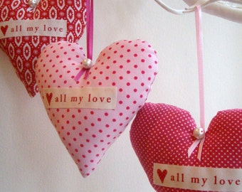 Wedding, Party Favour, Home Decor Hearts - Beautiful hand sewn hanging hearts in fabulous red and pink fabrics.