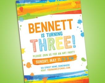 Art / Painting birthday party invitation - printable - rainbow, splatter, fun