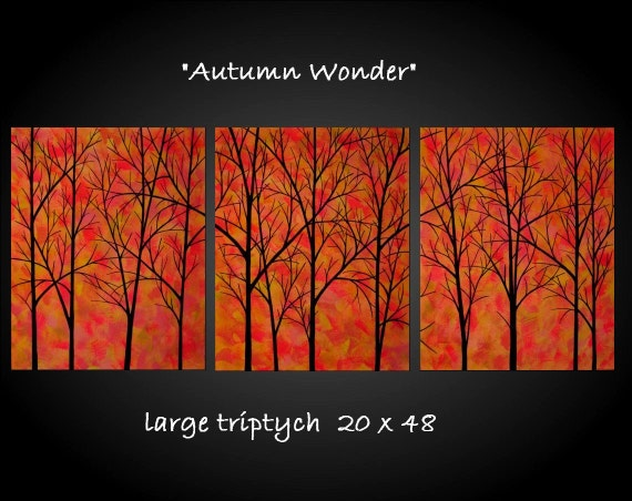 Large Abstract Tree Painting Original Fine Art Orange Modern Contemporary Triptych 20x48 JMichael