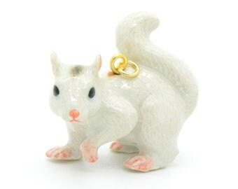 1 - Porcelain White Squirrel Pendant Hand Painted Glaze Ceramic Animal Bead Vintage Jewelry Supplies Little Critterz Porcelain (CA018)