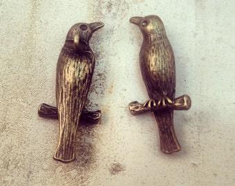 2 Pcs Large Bird Charms Perched Bird Charm Antique Bronze Vintage Style Pendant Charm Jewelry Supplies Animal (BC045)