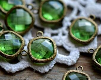 4 - Square Jewel Charms PERIDOT Drop Gem Jewels Square 12mm Light Green (AW029)
