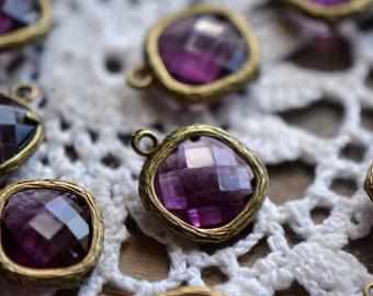 Wholesale Lot - Square Jewel Charms AMETHYST Drop Gem Jewels Square 12mm Dark Purple (AX021)