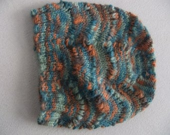 Hand Dyed Knit Wool Scalloped Beanie in Aqua Teal Brown and Peach