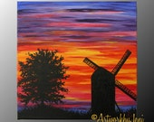"Windmill Tree Sunset pAiNtiNg Country Landscape Bright Colorful ArT on CaNvAs oRiGiNaL 12"" x 12"" by ArtworkbyJeni - ""Dusk at the Windmill"""