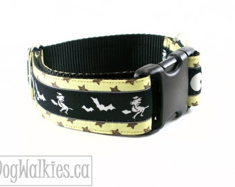 "Broom Ride in the Moonlight - Halloween Dog Collar - 1.5"" (38mm) Wide - Choice of style and size - Martingale Dog Collars or Quick Release"