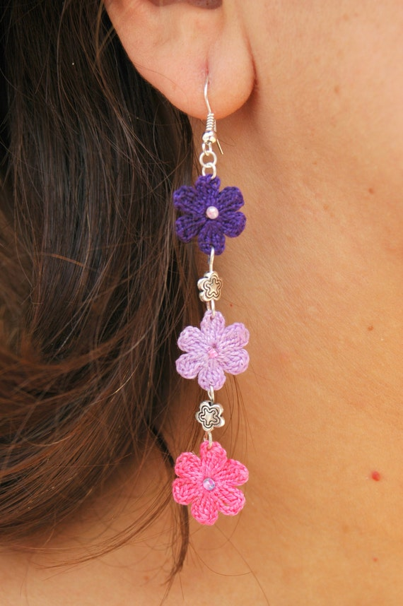 Crochet Earrings : Crochet flower earrings - Crochet jewelry - Long earrings - Pink ...