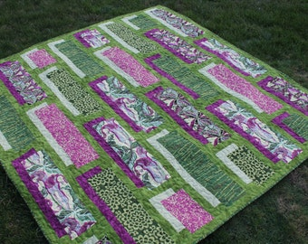 Floral Lap Quilt in Green and Magenta Pink