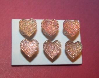 Sparkling Textured Pink Heart Push Pins/ Thumb Tacks Set of 6