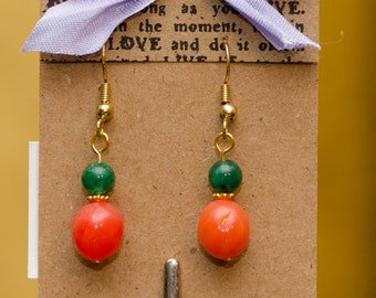 Coral and Green Earrings
