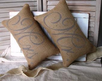 Mr. & Mrs. Pillows FREE SHIPPING-- Burlap Pillows-  Wedding Gift- Rustic Wedding-Pillow- Decorative Pillow-Burlap Pillow-