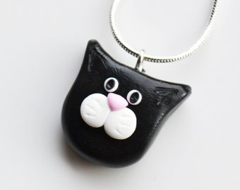 Cat Face Necklace, Polymer Clay, Fimo
