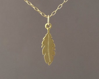 Tiny Gold Feather Necklace also available in Rose Gold and Silver