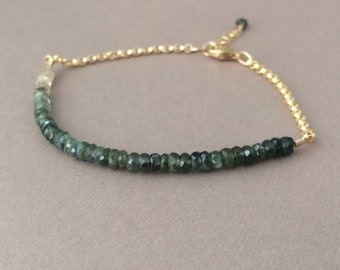 Ombre Green Sapphire Gemstone Beaded Gold Bracelet also available in Silver