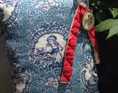 Primitive Little Red Riding Hood Pillow Tuck~ Blue Toile~ Very Prim Decor~1905~ Grimm Brothers