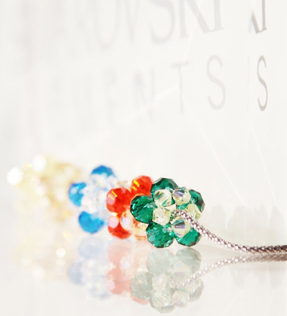 CRYSTAL BEADED BEAD necklace - 5 beads in jewel tone - emerald, topaz, saphire