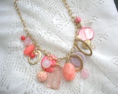 Beachy Assemblage Necklace Coral Peach Chunky Beaded Necklace, Bib Necklace, Vivid Colorful Necklaces, Goldtone Unique Beautiful Necklace