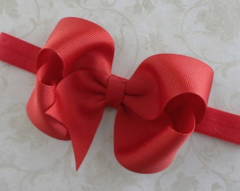 Baby  Bow Headband - 4 inch Large Red Grosgrain Ribbon Bow Headband - Girls Twisted Boutique Bow Headband - Toddlers