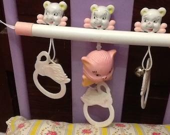 Vintage Hanging Pink Baby Crib Toy