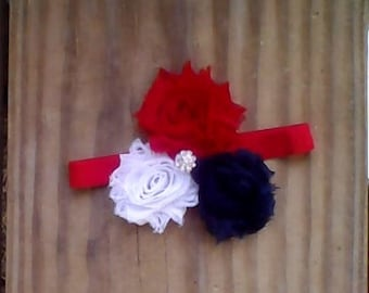 4th of july, patriotic, Girls Headband from Mudan, red white blue headband Shabby Rose Hair Accessory