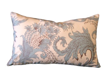 LUMBAR  PILLOW with COVER  Soft Teal Floral Home Decor  18 inch x 11 inch