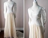 CLOSING SALE / Vintage 1940s Wedding Gown / 40s Wedding Dress / Vintage Bride