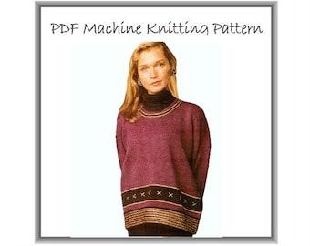 Machine Knitting Pattern 4 ply Sweater Designer Scoop Neck