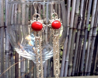 Flora - Red Coral and Sterling Silver Chain Earrings