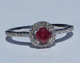 Natural .75 Carat Ruby & Diamond Engagement Ring 14KT Gold W/ Appraisal