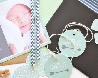 New baby boy arrow tag and twine - to add to invitations or decor