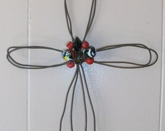 Bailing Wire Beaded Cross