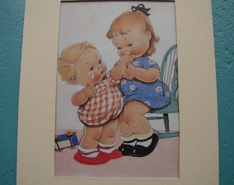 Vintage Mabel Lucie Attwell mounted print-my little brother-two children-crying baby