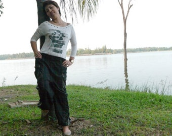 Thai Pants in Cotton, Black w Gray Flower Print, Elastic Waist - Men & Women by Amonchai
