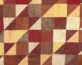 Primitive Gatherings Fabric Collection Wool and Needle Flannel Patchwork Sofa Quilt,  Deep Gorgeous Colors