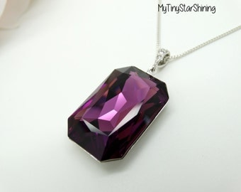 Amethyst Necklace Crystal Pendant Necklace Purple Pendant Swarovski CrystalAmethyst Necklace Silver Long Pendant Necklace Purple Jewelry RT