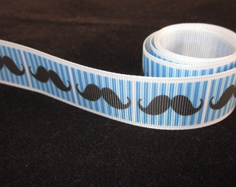"1"" Blue Mustache Grosgrain Printed Ribbon. By The Yard"