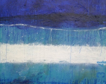 """Mixed media collage abstract acrylic modern art painting blue 24"""" wall art by Donna Sledge"""
