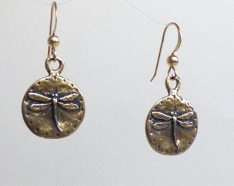 Dragonfly Earrings: Natural Bronze Dangles on Gold-Filled Earwires