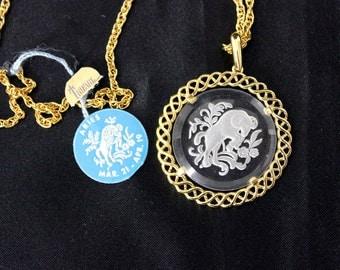 Vintage Trifari Zodiac Aries the Ram Necklace Reverse Carved Intaglio