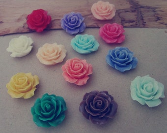 20pcs  18mm Mixed color  Resin Flowers Rose