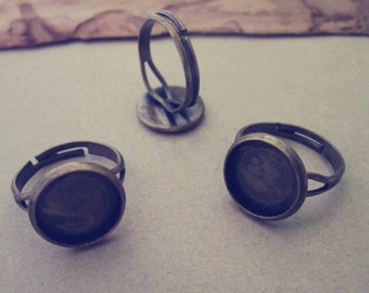 10pcs Adjustable antique bronze (copper ) Ring Blanks 12mm